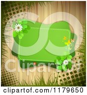 Clipart Of A Green Rectangles With Butterflies A Ladybug Clover Flowers And Shamrocks Over Wood With Grass And Grunge Royalty Free Vector Illustration