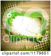 Clipart Of A Green Rectangles With Butterflies A Ladybug Clover Flowers And Shamrocks Over Wood With Grass And Grunge 2 Royalty Free Vector Illustration