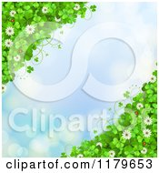 Clipart Of A Blue Sparkle Background With Shamrocks Flowers And Ladybugs On The Corners Royalty Free Vector Illustration