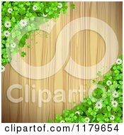 Clipart Of A Wooden Background With Shamrocks Flowers And Ladybugs On The Corners Royalty Free Vector Illustration
