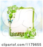 Clipart Of A Butterfly Shamrock And Clover Flower Frame Over Blue Sparkles Royalty Free Vector Illustration