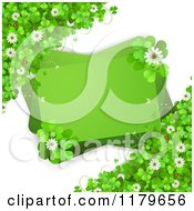 Clipart Of A Green Rectangles With Ladybugs Clover Flowers And Shamrocks On White Royalty Free Vector Illustration