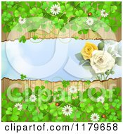 Clipart Of A Torn Wood Background With Roses Clovers Flowers And Ladybugs Royalty Free Vector Illustration