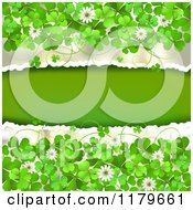 Clipart Of A Torn Background With Clovers And Flowers Royalty Free Vector Illustration