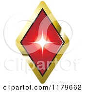 Clipart Of A Red Ruby Or Diamond In A Gold Setting Royalty Free Vector Illustration