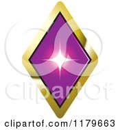 Clipart Of A Purple Diamond In A Gold Setting Royalty Free Vector Illustration