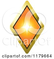 Clipart Of An Orange Diamond In A Gold Setting Royalty Free Vector Illustration