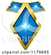 Clipart Of A Pendant Made Of Three Blue Diamonds Royalty Free Vector Illustration
