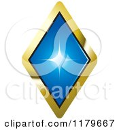 Clipart Of A Blue Diamond In A Gold Setting Royalty Free Vector Illustration