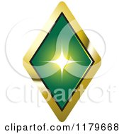 Clipart Of A Green Emerald Or Diamond In A Gold Setting Royalty Free Vector Illustration
