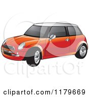 Clipart Of A Red Mini Cooper Car Royalty Free Vector Illustration