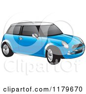 Clipart Of A Blue Mini Cooper Car Royalty Free Vector Illustration