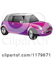 Clipart Of A Purple Mini Cooper Car Royalty Free Vector Illustration