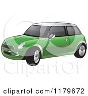 Clipart Of A Green Mini Cooper Car Royalty Free Vector Illustration
