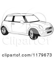 Clipart Of A Black And White Mini Cooper Car Royalty Free Vector Illustration