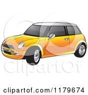 Clipart Of An Orange Mini Cooper Car Royalty Free Vector Illustration