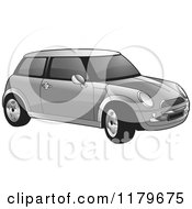 Clipart Of A Silver Mini Cooper Car Royalty Free Vector Illustration