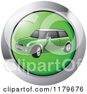 Clipart Of A Green Mini Cooper Car Icon Royalty Free Vector Illustration