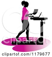 Clipart Of A Silhouetted Woman In Pink Walking At A Treadmill Work Station Desk Royalty Free Vector Illustration