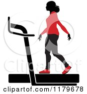 Clipart Of A Silhouetted Woman In A Red Outfit Walking On A Treadmill Royalty Free Vector Illustration by Lal Perera