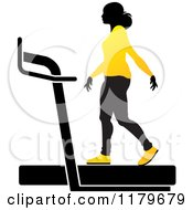 Clipart Of A Silhouetted Woman In A Yellow Outfit Walking On A Treadmill Royalty Free Vector Illustration