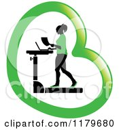 Clipart Of A Silhouetted Woman In Green Walking At A Treadmill Work Station Desk In A Heart Royalty Free Vector Illustration