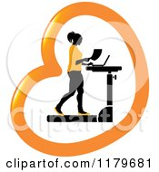 Clipart Of A Silhouetted Woman In Orange Walking At A Treadmill Work Station Desk In A Heart Royalty Free Vector Illustration