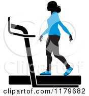Clipart Of A Silhouetted Woman In A Blue Outfit Walking On A Treadmill Royalty Free Vector Illustration