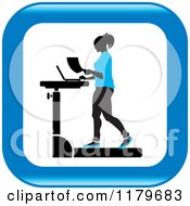 Clipart Of An Icon Of A Silhouetted Woman In Blue Walking At A Treadmill Work Station Desk Royalty Free Vector Illustration