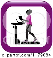 Clipart Of An Icon Of A Silhouetted Woman In Purple Walking At A Treadmill Work Station Desk Royalty Free Vector Illustration