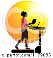 Clipart Of A Silhouetted Woman In Red Walking At A Treadmill Work Station Desk Royalty Free Vector Illustration