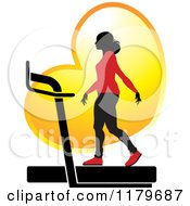 Clipart Of A Silhouetted Woman In A Red Outfit Walking On A Treadmill Over A Golden Heart Royalty Free Vector Illustration