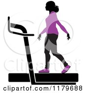 Clipart Of A Silhouetted Woman In A Purple Outfit Walking On A Treadmill Royalty Free Vector Illustration