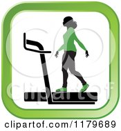 Clipart Of A Silhouetted Woman In A Green Outfit Walking On A Treadmill In A Square Royalty Free Vector Illustration