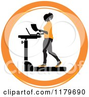 Clipart Of An Icon Of A Silhouetted Woman In Orange Walking At A Treadmill Work Station Desk Royalty Free Vector Illustration