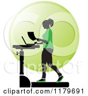Clipart Of A Silhouetted Woman In Green Walking At A Treadmill Work Station Desk Royalty Free Vector Illustration