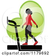 Clipart Of A Silhouetted Woman In A Red Outfit Walking On A Treadmill Over A Green Heart Royalty Free Vector Illustration
