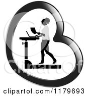 Clipart Of A Silhouetted Woman Walking At A Treadmill Work Station Desk In A Heart Royalty Free Vector Illustration