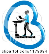 Clipart Of A Silhouetted Woman In Blue Walking At A Treadmill Work Station Desk In A Heart Royalty Free Vector Illustration