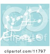 Blue Background With White Spring Blossoms Clipart Illustration by AtStockIllustration