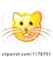 Clipart Of A Smiling Orange Cat Face With Whiskers Royalty Free Vector Illustration