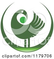 Clipart Of A Green Abstract Bird Design Royalty Free Vector Illustration