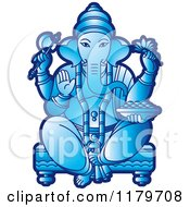 Clipart Of The Hindu Indian God Ganesha In Blue Royalty Free Vector Illustration