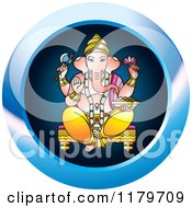 Clipart Of A Blue Hindu Indian God Ganesha Icon Royalty Free Vector Illustration
