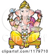 Clipart Of The Hindu Indian God Ganesha Royalty Free Vector Illustration