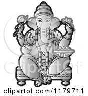 Clipart Of A Silver Hindu Indian God Ganesha In Blue Royalty Free Vector Illustration
