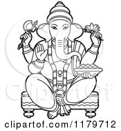 Clipart Of A Black And White Hindu Indian God Ganesha In Blue Royalty Free Vector Illustration