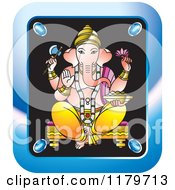Clipart Of A Blue Rectangular Hindu Indian God Ganesha Icon Royalty Free Vector Illustration