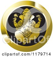 Clipart Of A Gold And Black Hindu Indian God Ganesha Icon Royalty Free Vector Illustration