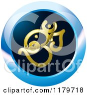 Clipart Of A Gold Om Or Aum Hinduism Symbol On A Blue Icon Royalty Free Vector Illustration